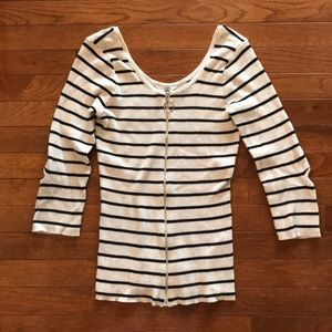 Guess B&W Striped Shirt With Circle Zipper Size L